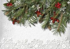 Weihnachtstannen-Baum mit Hooly und Papierschneeflocke auf Holz Lizenzfreie Stockbilder