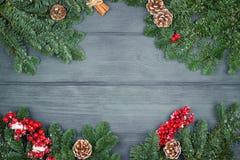 Weihnachtstannenbaum auf hölzernem Hintergrund, Kopienraum Lizenzfreie Stockfotos