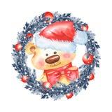 Weihnachtstannenbaum Kranz und Teddybär stock abbildung
