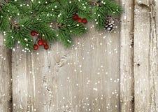 Weihnachtstannenbaum mit Stechpalme auf einem hölzernen Brett Lizenzfreies Stockfoto