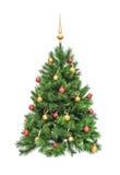 Weihnachtstannenbaum verziert mit Gold und roten Bereichen Stockfoto