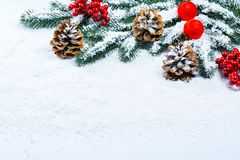 Weihnachtstannenbaumrahmen auf weißem Schnee Stockfotografie