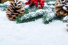 Weihnachtstannenbaumrahmen auf weißem Schnee Lizenzfreie Stockfotos