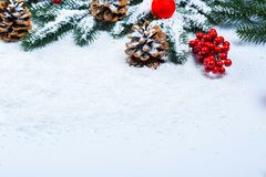 Weihnachtstannenbaumrahmen auf weißem Schnee Stockfoto