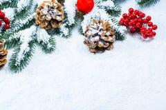 Weihnachtstannenbaumrahmen auf weißem Schnee Stockbild