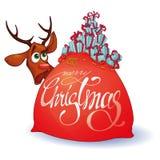 Weihnachtstasche mit einem Geschenk und einem überraschten Rotwild in einer Karikaturart stock abbildung