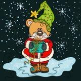 Weihnachtsteddybär mit Geschenk auf Nachthintergrund lizenzfreie abbildung