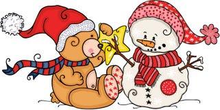 Weihnachtsteddybär mit nettem Schneemann vektor abbildung