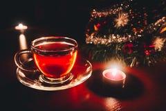 Weihnachtstee nahe Weihnachtsbaum Stockfoto