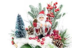 Weihnachtsteller mit Weihnachtsmann und Dekoration Stockfotos