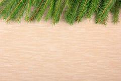 Weihnachtstextilhintergrund mit Schneetannenbaum Draufsicht, Raum für Ihren Text Lizenzfreie Stockbilder