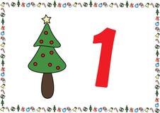 Weihnachtsthemenorientierte Kinder nummerieren Reihen 1 lizenzfreies stockfoto