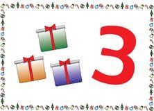 Weihnachtsthemenorientierte Kinder nummerieren Reihen 3 stock abbildung