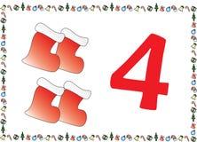 Weihnachtsthemenorientierte Kinder nummerieren Reihen 4 stockfotos