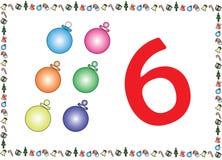 Weihnachtsthemenorientierte Kinder nummerieren Reihen 6 stock abbildung