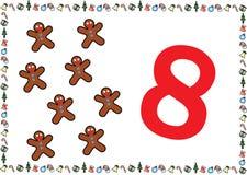 Weihnachtsthemenorientierte Kinder nummerieren Reihen 8 stock abbildung
