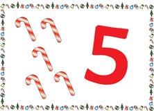 Weihnachtsthemenorientierte Kinder nummerieren Reihen 5 lizenzfreies stockfoto