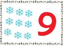Weihnachtsthemenorientierte Kinder nummerieren Reihen 9 stock abbildung
