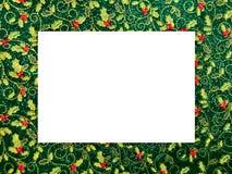 Weihnachtsthemenorientierter Bilderrahmen, Stechpalmenmuster lizenzfreie stockfotos