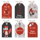 Weihnachtstiere neues Jahr und Weihnachtskarten Stilvolle Tags Lizenzfreie Stockfotos