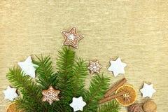 Weihnachtstraditionelle Lebkuchen mit Zimt, Nüssen und Orang-Utan Lizenzfreie Stockfotos