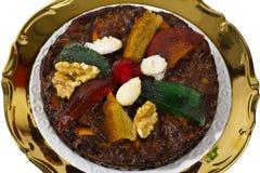 Weihnachtstrockenfrüchte und Nussnachtisch, Teller von Emilia Romagna Lizenzfreies Stockfoto
