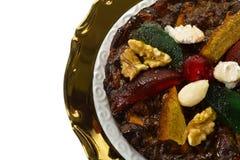 Weihnachtstrockenfrüchte und Nussnachtisch, Teller von Emilia Romagna Stockbild