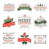 Weihnachtstypografische Elementaufkleber und -bänder Lizenzfreie Stockfotografie