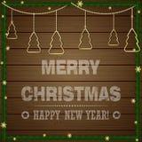 Weihnachtstypografischer Aufkleber für Weihnachten und neues Jahr  Lizenzfreies Stockfoto