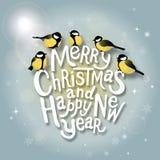 Weihnachtstypografischer Aufkleber für Weihnachts- und Neujahrsfeiertagedesig Stockfoto