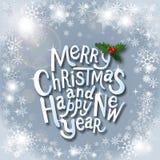 Weihnachtstypografischer Aufkleber für Weihnachts- und Neujahrsfeiertagedesig Lizenzfreie Stockfotos