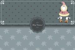 Weihnachtsumschlag mit Santa Claus auf Skis Lizenzfreies Stockfoto
