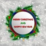 Weihnachtsvektor-Grußkarte mit Tannenzweigen Stockfotos