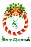 Weihnachtsvektor-Kartendesign mit Ren - Illustration eps10 Stockfotos