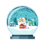 Weihnachtsvektor-Schneekugel mit kleinen Häusern vektor abbildung