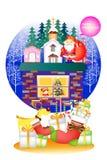 Weihnachtsvektor wendet mit Ren, Weihnachtsmann und netten Elementen - Illustration eps10 ein Stockbild