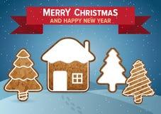 Weihnachtsvektor-Wunschkarte Stockbilder