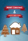 Weihnachtsvektor-Wunschkarte Stockfotos