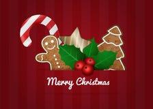 Weihnachtsvektor-Wunschkarte Stockfotografie