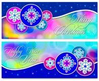 Weihnachtsvektorfahnen eingestellt mit Schneeflocken Stockfotos