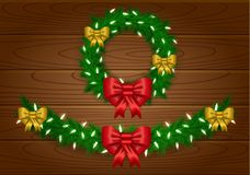 Weihnachtsvektorgirlande Stockbild