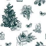 Weihnachtsvektorhintergrundskizzen-Satzstich stockbild