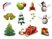 Weihnachtsvektorikonen lizenzfreie abbildung