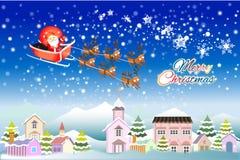 Weihnachtsvektorillustration von Sankt Pferdeschlitten fliegend über Stadt - kreative Illustration eps10 Stockfotografie