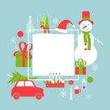 Weihnachtsvektorrahmen mit Schneemann und Auto Stockbild