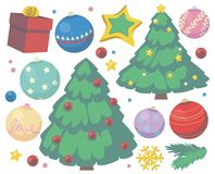 Weihnachtsvektorsammlung mit nettem Karikaturbaum-, -geschenk-, -stern-, -schneeflocken- und -baumflitter stock abbildung