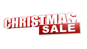 Weihnachtsverkauf in den roten Buchstaben 3d und im Block Stockfotos