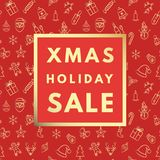 Weihnachtsverkauf kreativ, minimale Wintergrußkarte stock abbildung