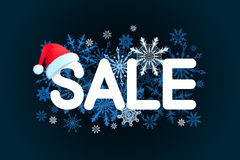 Weihnachtsverkaufs-Designschablone auf schwarzem Hintergrund mit rotem Hut, Schneeflocke Auch im corel abgehobenen Betrag Lizenzfreies Stockfoto