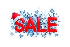 Weihnachtsverkaufs-Designschablone auf weißem Hintergrund mit rotem Hut, Schneeflocke Auch im corel abgehobenen Betrag Lizenzfreie Stockfotografie